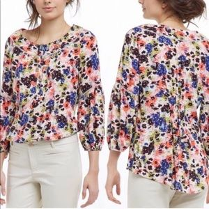 Anthro Maeve Pansy Field Floral Popover Blouse